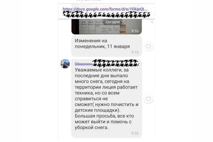 Активисты заявили, что учителей саратовского лицея вынудили убирать снег на территории учреждения (чиновники уверяли, что эта практика ушла в прошлое)